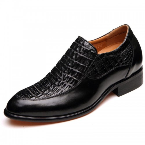Tailor-made black crocodile formal height increasing shoes 6.5cm / 2.56inches slip-on dress shoes