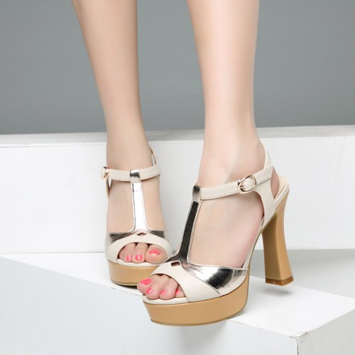 Rome soft leather square heel sandals casual buckle strap peep toe women sandals