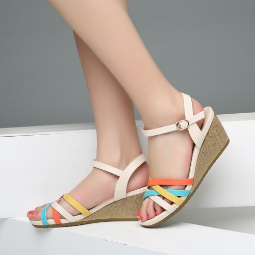 Fashion cross tied sandals casual buckle strap women wedges sandals