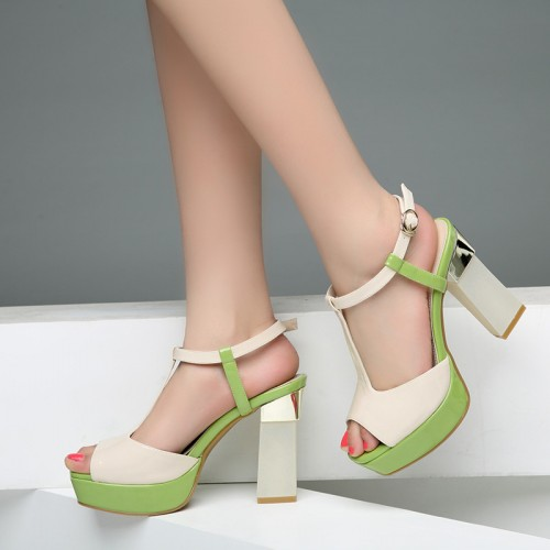Sexy patent leather chunky heel sandals buckle strap casual peep toe shoes