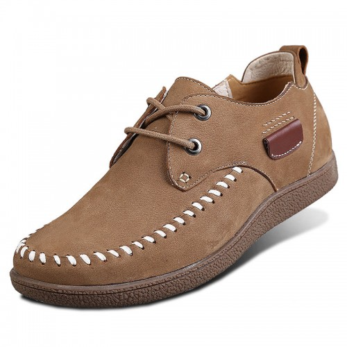 Khaki Nubuck Leather Higher Casual Shoes Increase Height 6cm / 2.36inches