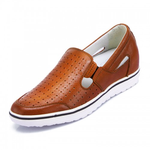 Brown Summer Slip-on Leather Elavetor Sandals Increase Height 6cm / 2.36inches Taller Sandals