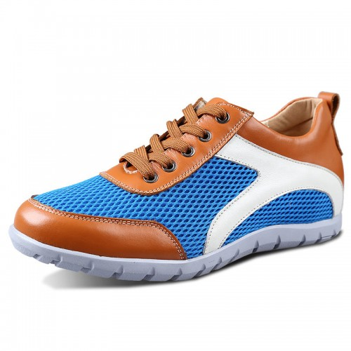 Blue Men's invisible increase breathable mesh sports shoes get height 6cm / 2.36inches