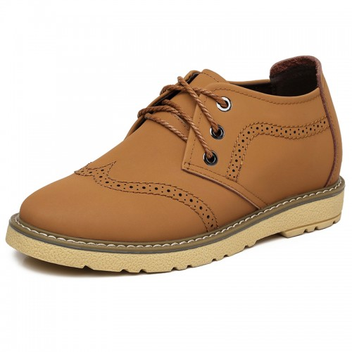 Breathable elevated brogue shoes height increasin 7cm / 2.75inch lace up casual shoes