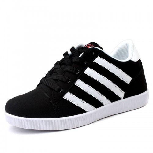 Black Board Shoes Height Increasing 6.5cm / 2.56inches Comfortable Soft Elevator Sneakers