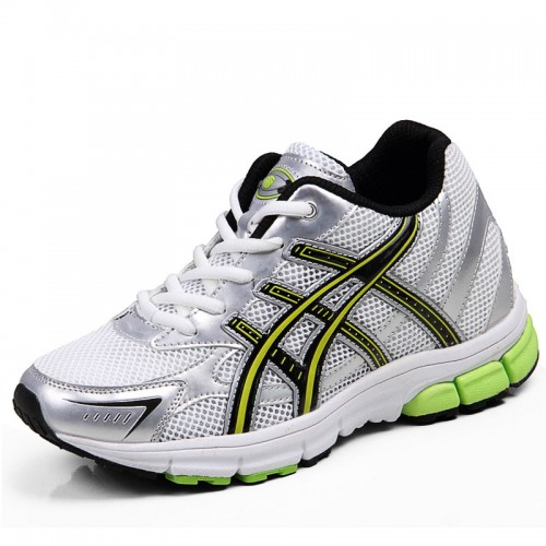 New white/green micro fiber mesh outdoor elevator hiking shoes height taller 7cm / 2.75inches breathable leisure shoes