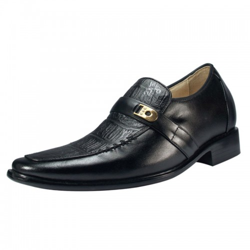 Black men height dress shoes grow tall 7cm / 2.75inches