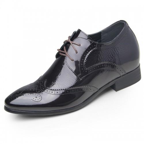 Violet crocodile grain brogue elevator dress shoes 6.5cm / 2.56inch shiny wing tip wedding shoes