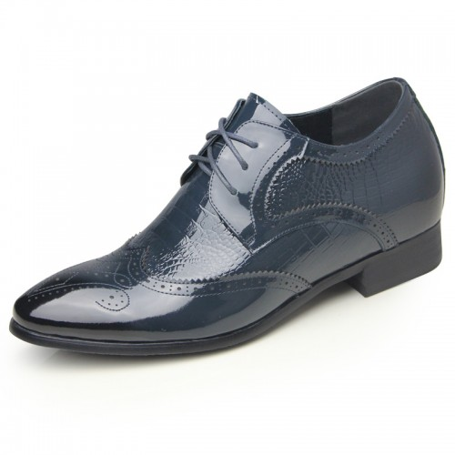 Blue crocodile grain brogue tall dress shoes 6.5cm / 2.56inch shiny wing tip wedding shoes