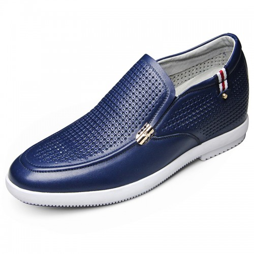 Blue soft upper height increasing sandals 6cm / 2.36inch comfortable slip on cowhide boat shoes