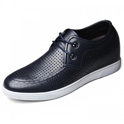 Summer heighten sandals for men gain taller 6cm / 2.36inch blue lace up shoes