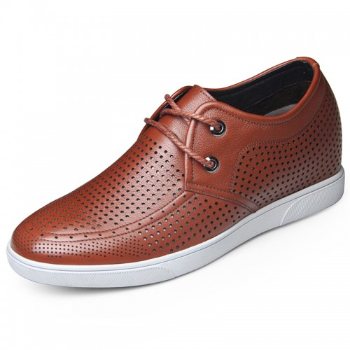 Summer hidden heel sandals for men get height 6cm / 2.36inch brown lace up shoes