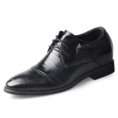 Premium business elevator formal shoes 6.5cm / 2.56inch black taller derby shoe