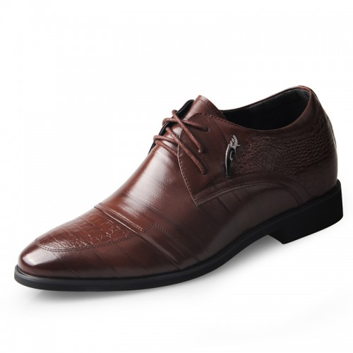 Premium business elevated formal shoes 6.5cm / 2.56inch brown height increasing derby shoe