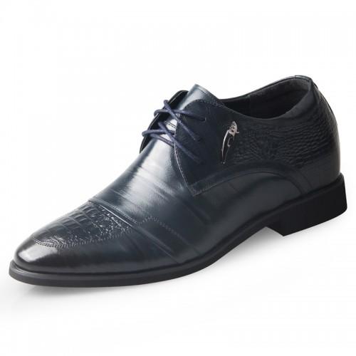 Premium business elevation formal shoes 6.5cm / 2.56inch blue hidden heel derby shoe