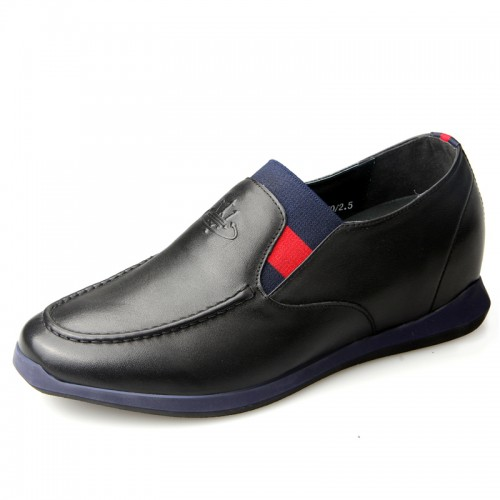 UK black height increasing slip-on shoes 6cm / 2.36inch business casual loafers