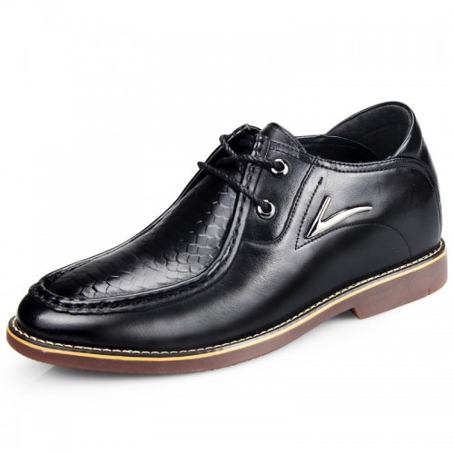 Black embossing formal shoes increasing height 6.5cm / 2.56inch with cow muscle outsole