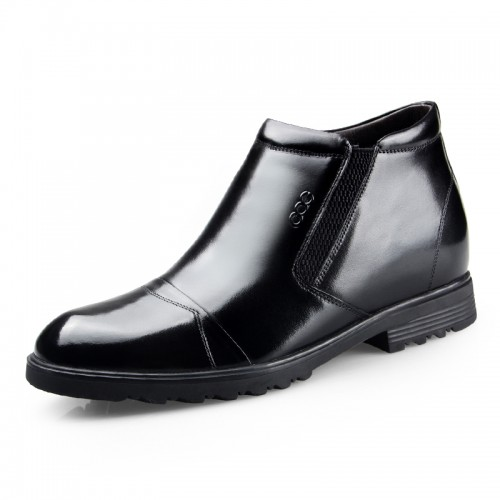 Cap toe dress boot extra height 6.5cm / 2.56inch elevator slip on cotton boot