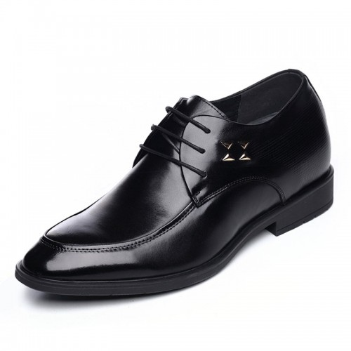 Shiny upper formal height elevator lace-up shoe 6.5cm / 2.56inch black taller derbies