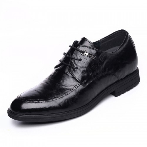 Tide height dress shoes gain tall 6.5cm / 2.56inch black lace up formal elevator derbies
