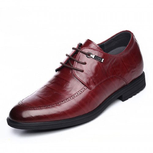 Tide height dress shoes gain tall 6.5cm / 2.56inch wine red lace up formal elevator derbies