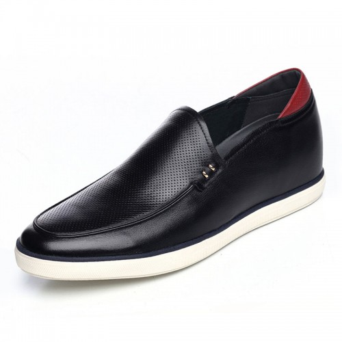 Soft upper soft sole elevator loafers add height 6cm / 2.36inch black slip on driving shoes