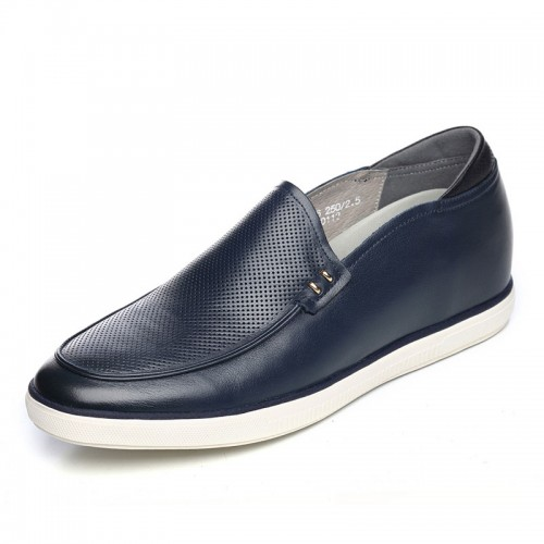 Soft upper soft sole height increasing loafers add tall 6cm / 2.36inch blue slip on driving shoes