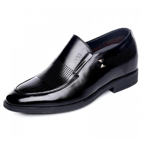 Summer men elevator formal sandals 6.5cm / 2.56inch taller black cowhide slip-ons