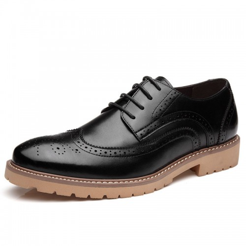 Retro Brogues Carving Elevator Dress shoes Height Increasing 6cm / 2.36inches Baroque Oxfords