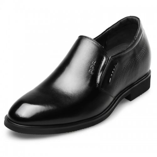 Plain elevator dress shoes for men taller 2.4inch slip on taller formal loafers