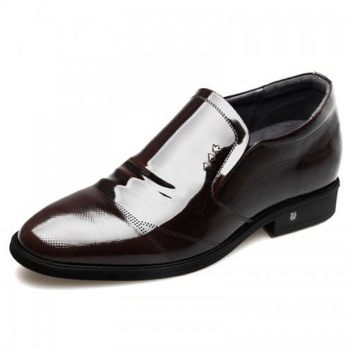 Glossy Patent Leather Elevator Men Shoes Height 2.6inch / 6.5cm Reddish Brown Perforated Formal Loafers
