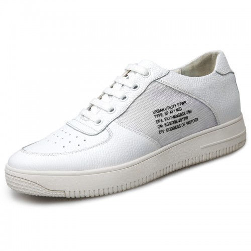 Korean Hidden Lift Skate Shoes for Men Add Taller 2.4inch / 6cm White Platform Casual Shoes