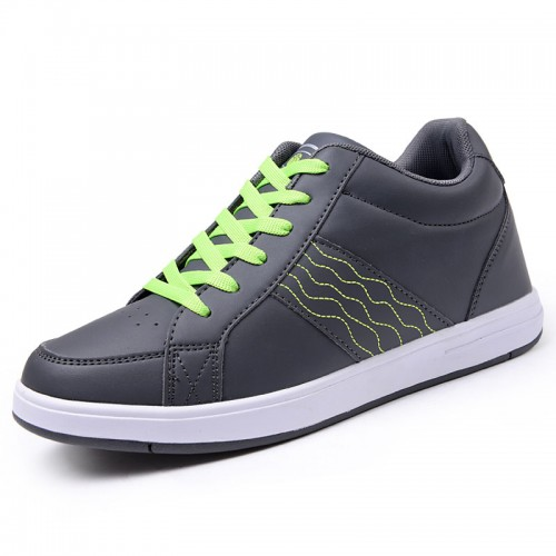 Comfortable Grey height elevating sneakers that make you look taller 7cm / 2.75inches walking shoe