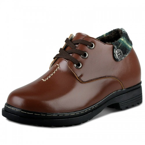 Winter brown height increasing shoes with wool lining gain tall 9cm / 3.54 inches