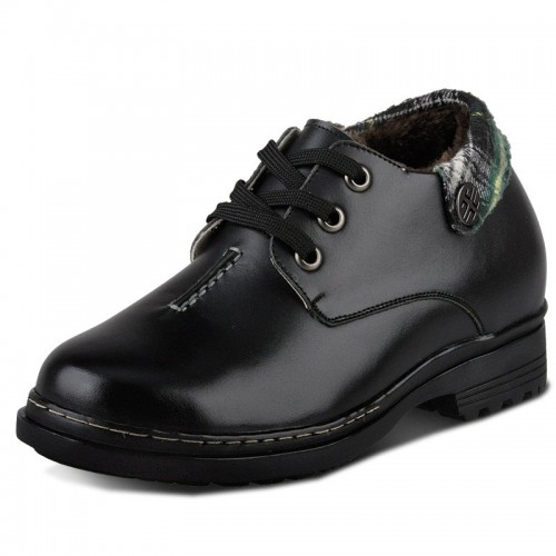 Winter black elevator shoes with wool lining height increaseing 9cm / 3.54 inches