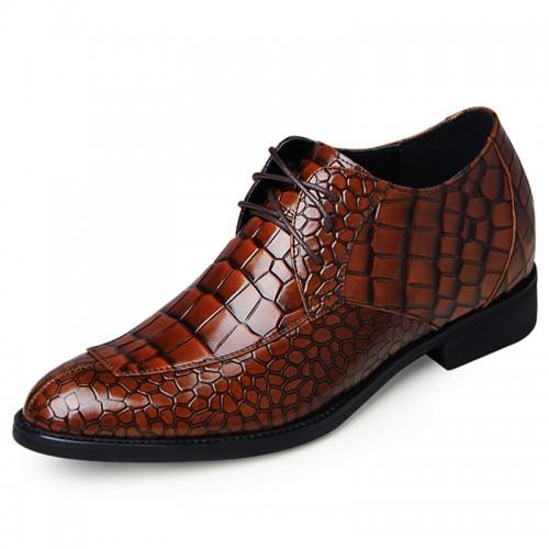 Brown crocodile grain split toe elevator oxfords 6.5cm / 2.56inch height increasing formal dress shoes