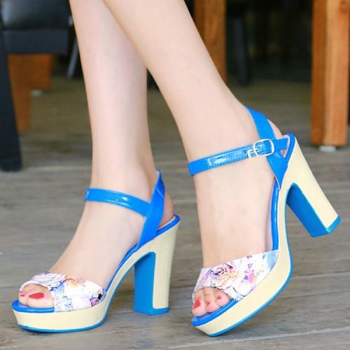 Sexy full grain leather buckle women sandals high heel platform peep toe shoes