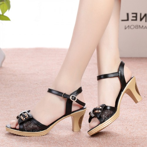 Full grain leather bowtie women sandals Rome casual butterfly-knot peep toe shoes