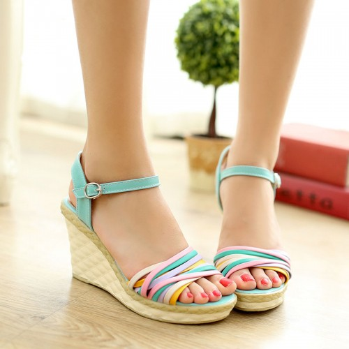 Sweet back strap women sandals cross-tied wedges shoes