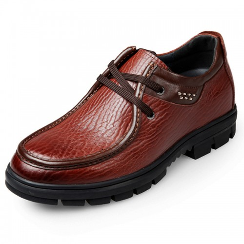 Trendy Elevator Business Casual Shoes Increase Height 2.6inch / 6.5cm Brown