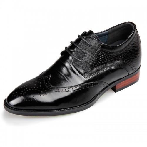 Designer Wing Tip Height Elevator Brogue Shoes Black Taller 2.6inch / 6.5cm