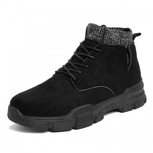 INS Black Height Increasing Sock Boots Slip On Martin Boots British Ankle Boot Add Taller 3.2inch / 8cm