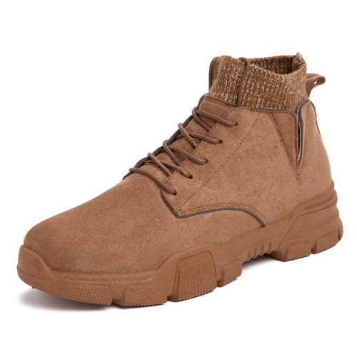 INS Hidden Taller Sock Boots Brown Slip On Martin Boots British Ankle Boot Add Height 3.2inch / 8cm
