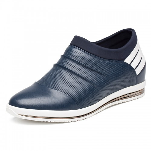 Dark blue calf leather height loafers to be tall 7cm / 2.75inch breathable casual shoes
