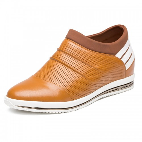 Orange calf leather increasing loafers to be height 7cm / 2.75inch breathable casual shoes