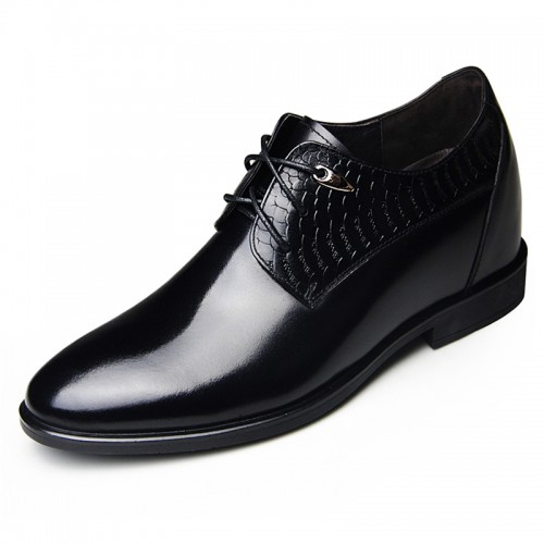 New groom height increasing wedding shoes 8cm / 3.15inch lace-up shiny cowhide formal shoes