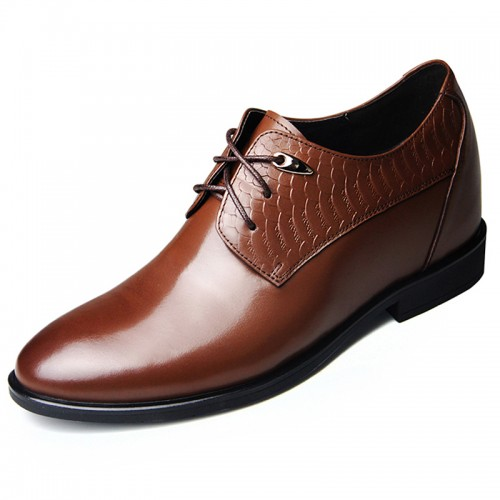 New Brown cowhide elevator formal shoes 8cm / 3.15inch lace-up taller party shoes