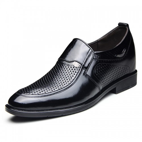 Slip on elevator business sandals 7cm / 2.75inch calfskin height taller formal loafers