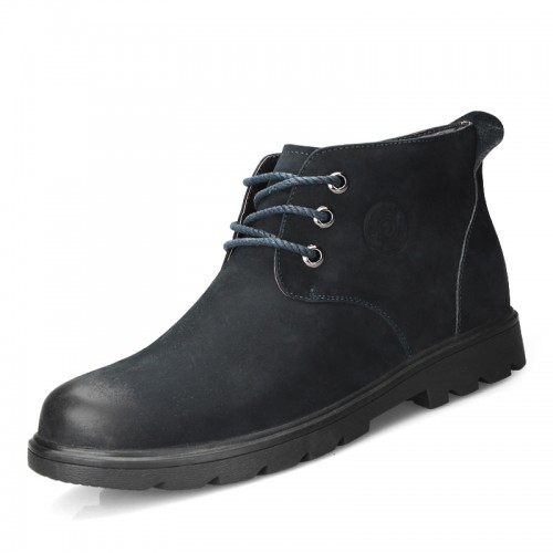 Suede leather casual cotton boots add height 7cm / 2.75inch lace up taller boots