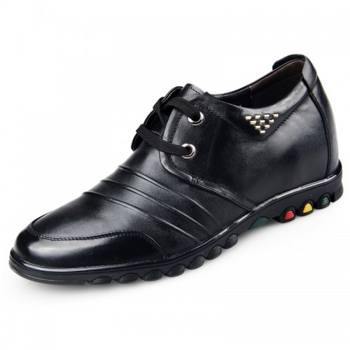 Best lace up elelvator driving shoe 7cm / 2.75inch black taller casual shoes